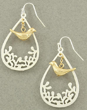 French Style Bird Dangle Earring Silver with Gold Bird