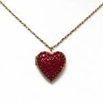 Red Crystal Encrusted Heart Necklace Locket