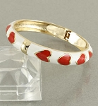 Bangle Bracelet with Red Enamel Hearts Accented with Gold