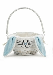 Personalized White Willow Easter Bunny Basket BLUE