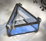 Blue Stained Glass Box with Leaded Butterfly