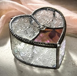 Stained Glass Heart Shape Jewelry Box by J. Devlin Art Glass