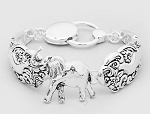 Lucky Elephant Spoon Silver Look Bracelet