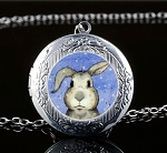 Personalized Silver Bunny Face Locket