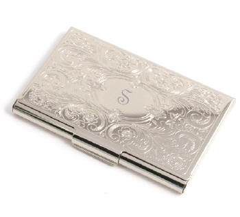 silver embossed scroll business card case - Silver Business Card Holder