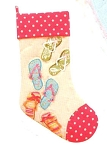 Flip Flop with Pink Polka Dots Quilted Christmas Stocking