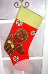 Gingerbread Man Quilted Personalized Christmas Stocking