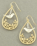 French Style Bird Dangle Earring Gold with Silver Bird