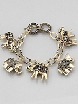 Antique Gold Elephant Charm Bracelet