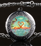 Personalized Flamingo Heart Locket
