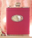Hot Pink Flask with Crystals (Engraved)