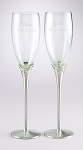 Personalized Wedding Champagne Flutes Satin Stems with Crystals