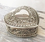 Personalized Silver Genoa Heart Jewelry Box