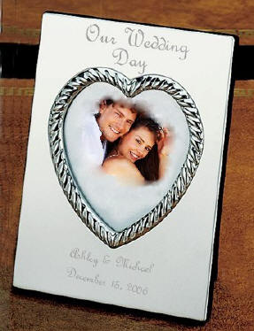 Engraved Picture Frames Wedding Favors : ... of the frame. This frame was engraved with a French Filled script
