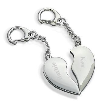 personalized split heart key chain