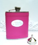 Hot Pink Leathette Flask (Engraved)