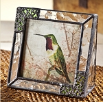 Stained Glass 3 X 3 Photo Frame with Hummingbird
