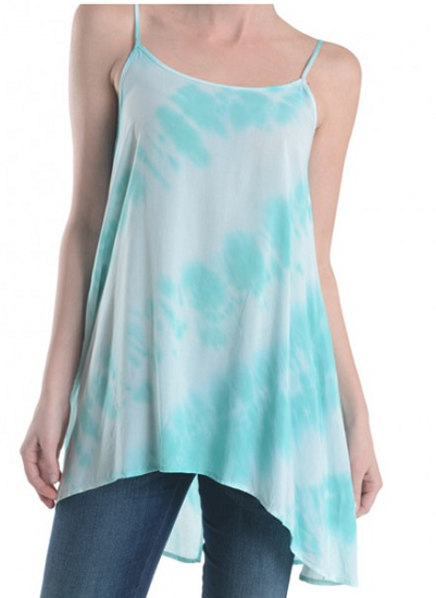 Tie Dye Turquoise Spaghetti Strapped Slight Top