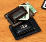 Leather Money Clip with Card Holder and Foil Engraved Initials