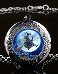 Personalized Witch on a Broom Stick Locket