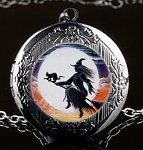 Personalized Witch and Black Cat Locket