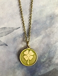 Four Leaf Clover Token Charm Necklace