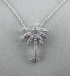 CZ Palmtree Necklace Sterling Silver