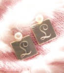 White Fresh Water Pearl Monogrammed Silver Square Earrings