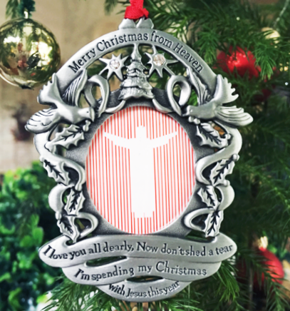 our pewter merry christmas for heaven photo ornament comes with a poem card created by john mooney jr he wrote merry christmas from heaven in his