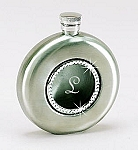 Round Silver Flask with Crystals (Engraved)