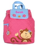 Personalized Quilted Girl Monkey Pink Backpack