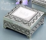 Personalized Silver Jewelry Box with  Accenting Engraved Details