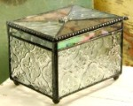 Stained Glass Keepsake Box with a Personalized Charm 408