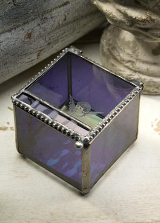 Mongrammed Vintage Angel Face Purple Stained Glass Box