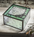 Dragonfly Stained Glass Box with Imprinted Sycamore Leaves