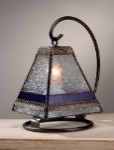Vintage and Plum Stained Glass Table Lantern Lamp