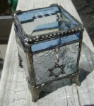 Monogrammed Stained Glass Box with Star of David Charm