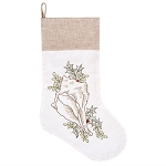 Embroidered Natural Conch Shell with Holly Christmas Stocking