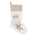 Embroidered Natural Shell with Holly Christmas Stocking