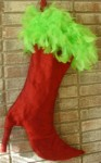 Red Boot Heal Silk Christmas Stocking with Green Feathers
