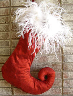 Red Silk Curl Toe Christmas Stocking with White Feathers