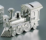 Personalized Nickle Plate Shiny Baby Train Bank