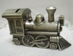 Personalized Brushed Pewter Baby Train Bank
