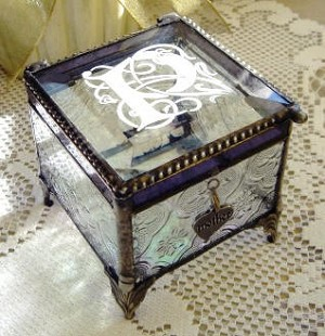 Engraved Victorian Stained Glass Keepsake Box