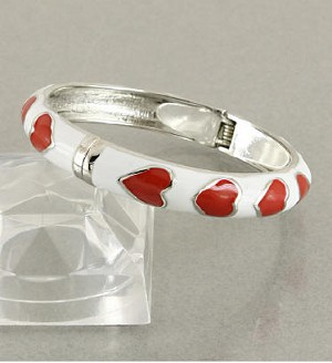 Bangle Bracelet with Red Enamel Hearts Accented with SILVER