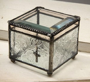 Vintage and Champagne Stained Glass Charm Box