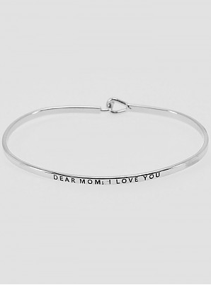 Dear Mom I Love You Silver Cuff Bracelet
