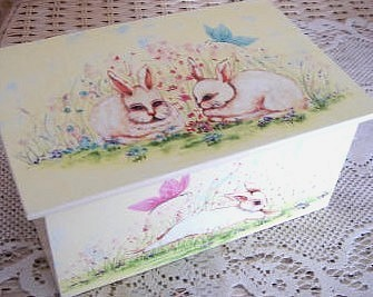 Wooden Painted Bunnies Box