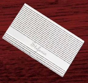 Personalized Silver Linear Business Card Case