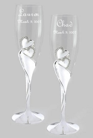 Personalized Wedding Champagne Flutes with Large Crystal Double Hearts